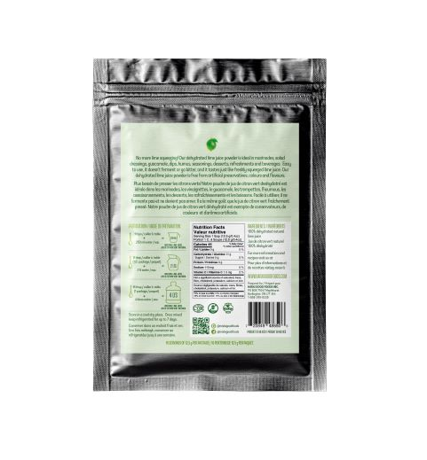 Miski Goodfoods dehydrated lime juice powder - back view