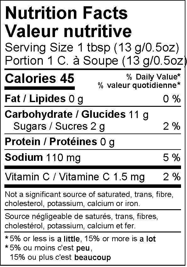 Miski Goodfoods dehydrated lime juice powder nutritional information