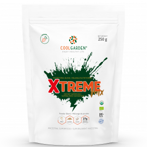 A pouch of the Xtreme Mix - an instant superfood powder