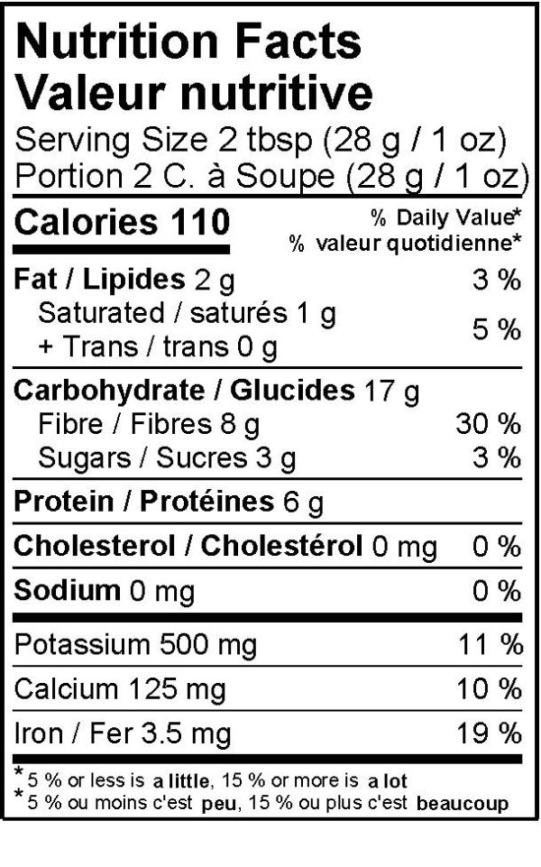 Miski Maca Cacao Blend Nutritional Information