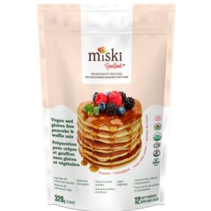 A bag of Miski Goodfoods vegan and gluten free pancake and waffle mix